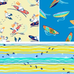 surfing boards pelicans & sea patterns for children