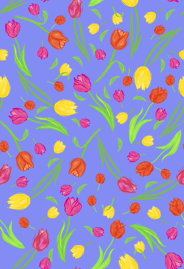 pattern of scattered colored tulips  on lilac background