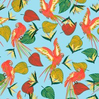 Colorful pattern of parrots & tropical leaves