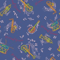 Pattern of musical instruments & music notes