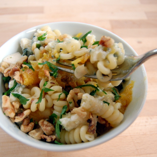 Fusilli with Acorn Squash, Apples, Blue Cheese and Walnuts