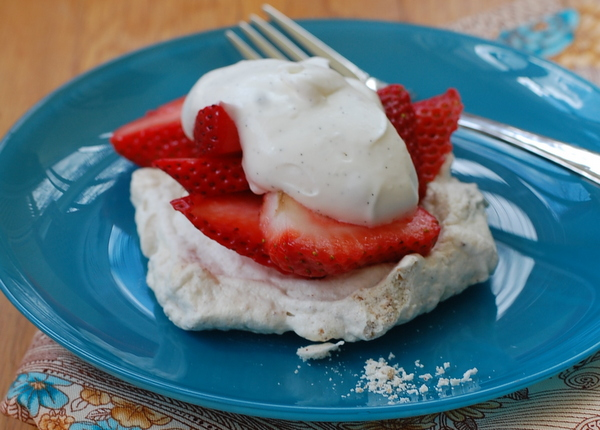 Strawberry Pecan Pavlova with Yogurt Whipped Cream