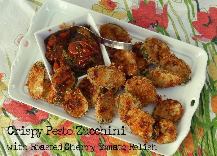 Crispy Baked Pesto Zucchini with Roasted Cherry Tomato Relish