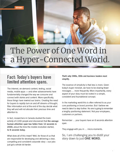 The Power of One Word in a Hyper-Connected World.
