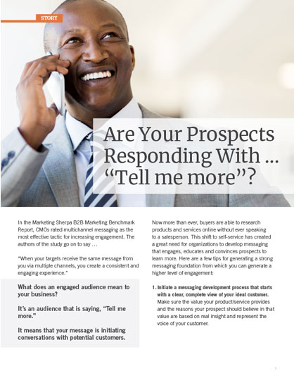"""Are your clients responding with """"Tell me more""""?"""