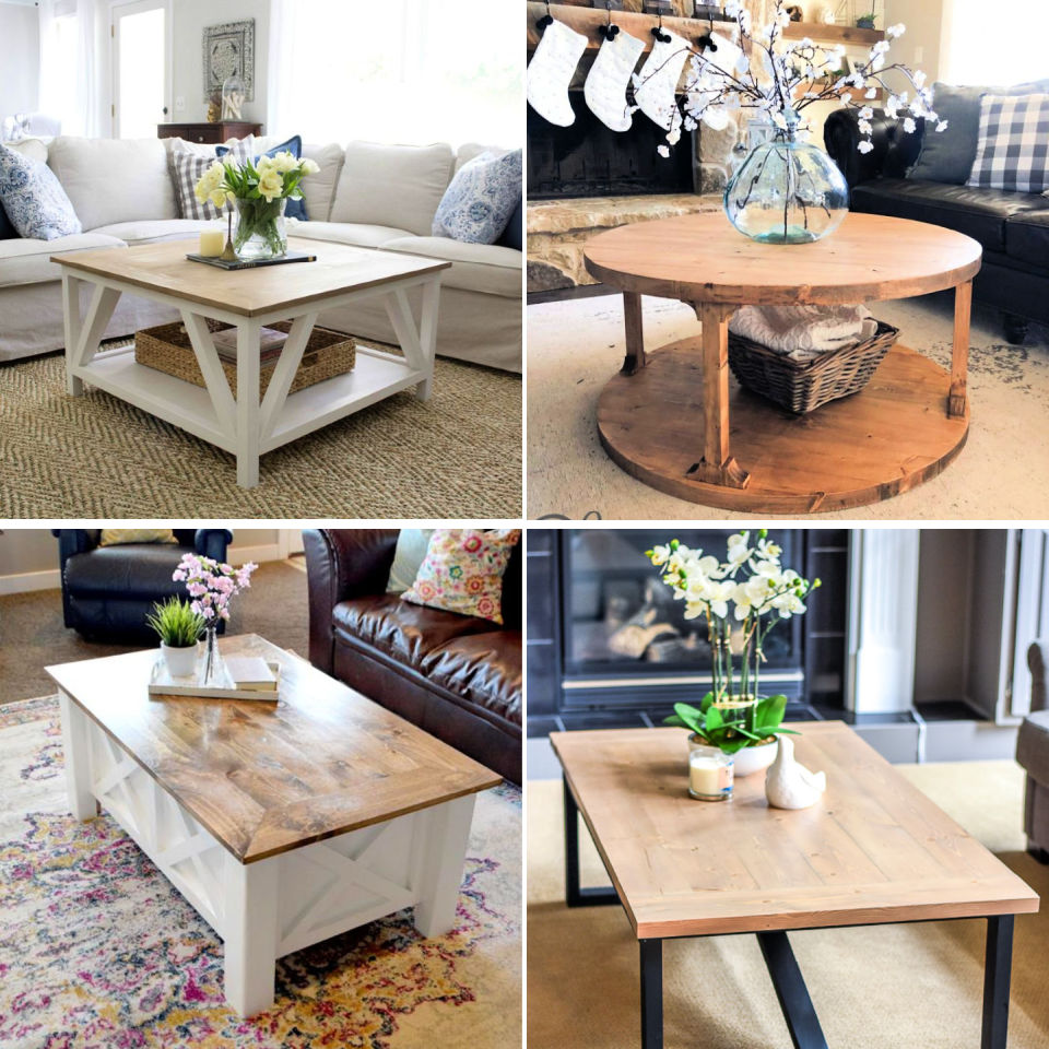 20 Simple DIY Farmhouse Coffee Table Plans - Its Overflowing on Coffee Table Plans  id=28297