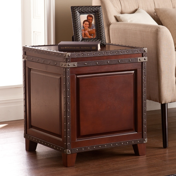 Side Tables With Storage Trunk Chest Hidden Bin Small
