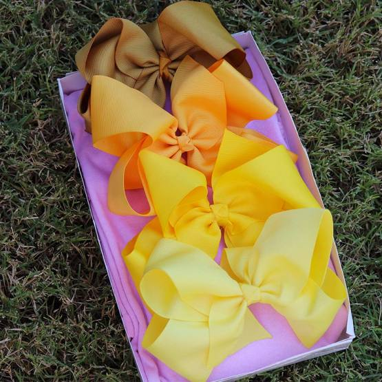yellow bow box, bow box, monthly bow box, bow box collection, yellow bows