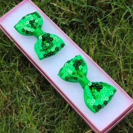 green sequence bows, green bows, sequence bows, bowtie bows, sequence bowtie bows, pigtail bows,