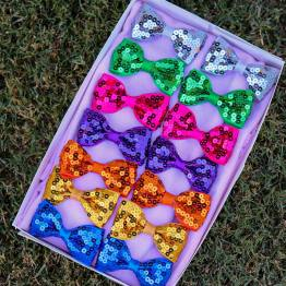 sequence hair bows, sequence bows, baby bows, baby gifts, hair clips
