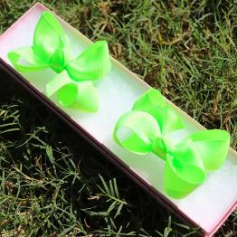 neon green mini boutique bows, neon green bows, little bows, mini boutique bows, boutique bows, mini bows, pigtail bows