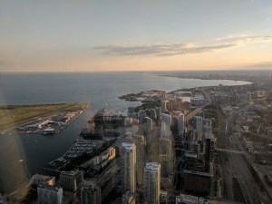 Toronto from very high up in the CN Tower