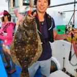 Flounder on angry orange giant shrimp 119