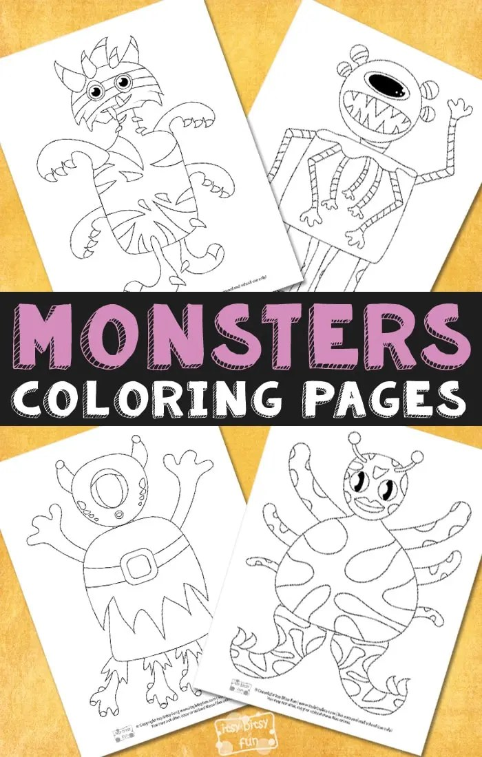 Monsters Halloween Coloring Pages For Kids Itsybitsyfun Com
