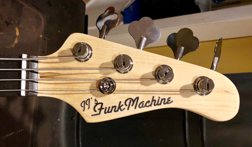 The custom headstock stays it all!