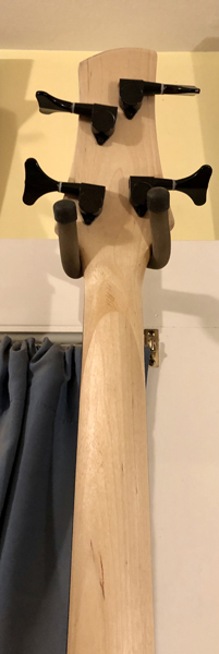 The Black Knight's neck is hand shaped, sanded, and finished with tung oil.