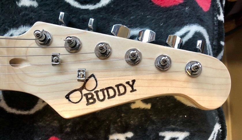 Buddy's laser engraved headstock