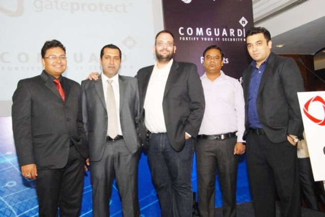 Mr. Abhishek Moitra_Regional Manager, Mr. Sameer Lal_Country Manager - Gateprotect, Mr. Steffen Bajerke_Global IT Head - Gateprotect, Mr. Arvind  Digamber  Mane_Technical Engineer and M (1)