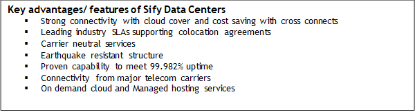 Key advantages/features of Sify Data Center
