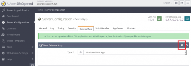 Install OpenLiteSpeed on CentOS 7 - New External App