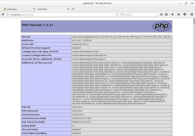 Install OpenLiteSpeed on CentOS 7 - OpenLiteSpeed PHP Support