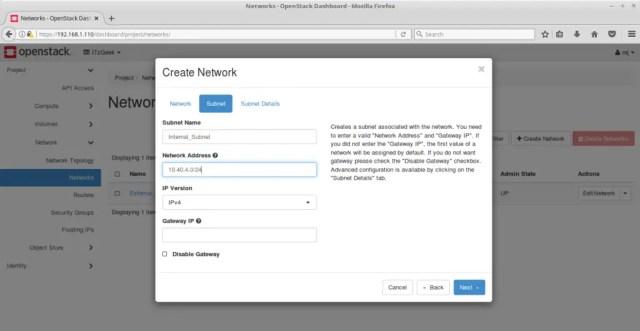 Configure OpenStack Networking - Create OpenStack Internal Subnet