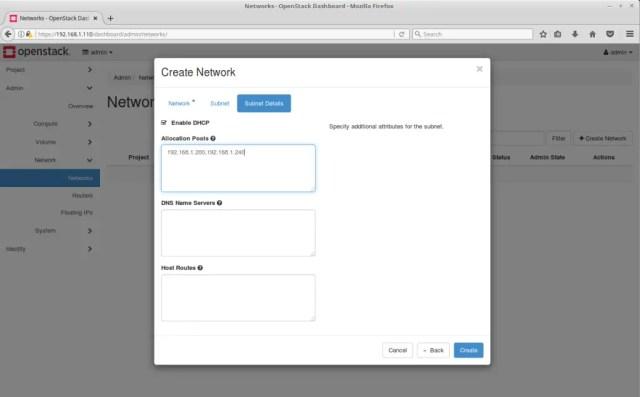 Configure OpenStack Networking - OpenStack External Subnet Details