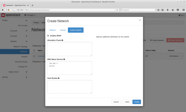 Configure OpenStack Networking - OpenStack Internal Subnet Details