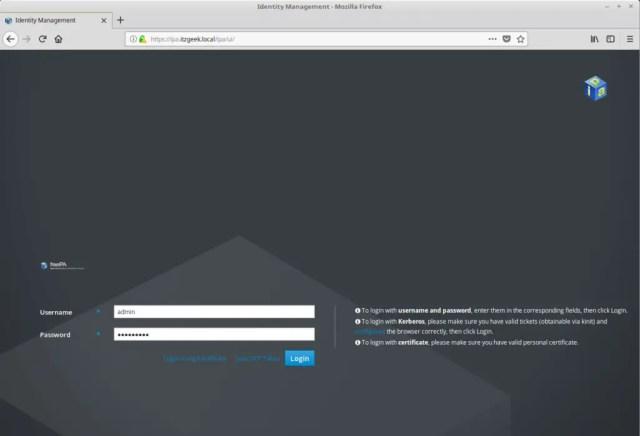 Configure FreeIPA server On CentOS 7 - FreeIPA Web UI Login Screen