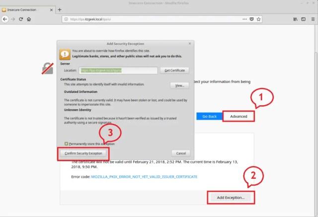 Configure FreeIPA server On CentOS 7 - SSL Exceptions