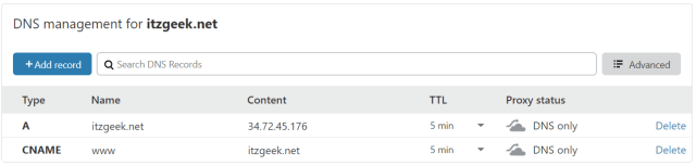 Update DNS Record