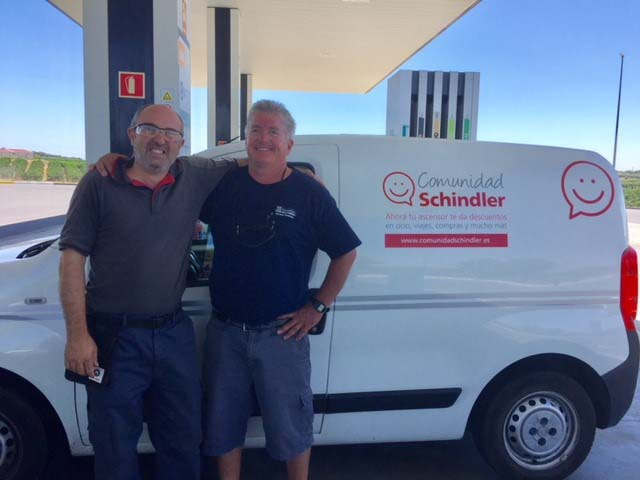 L84 Schindler mechanic Antonio and TKE mechanic Jimmy The Grunt meet up on the road in Spain.