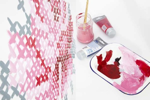 DIY: Wallpaper Еmbroidery ♥ 14 - Cross-stitch
