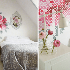 DIY: Wallpaper Еmbroidery ♥ 17 - Cross-stitch