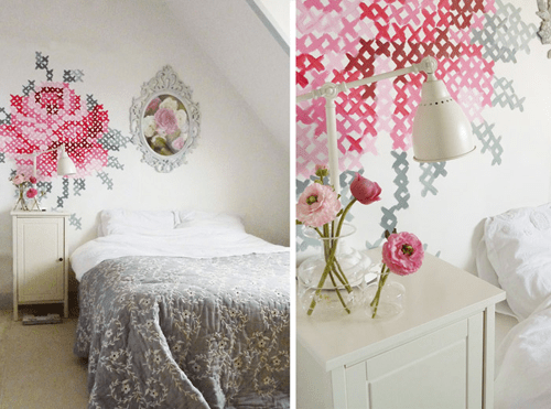 the whole bedroom DIY: Wallpaper Еmbroidery ♥