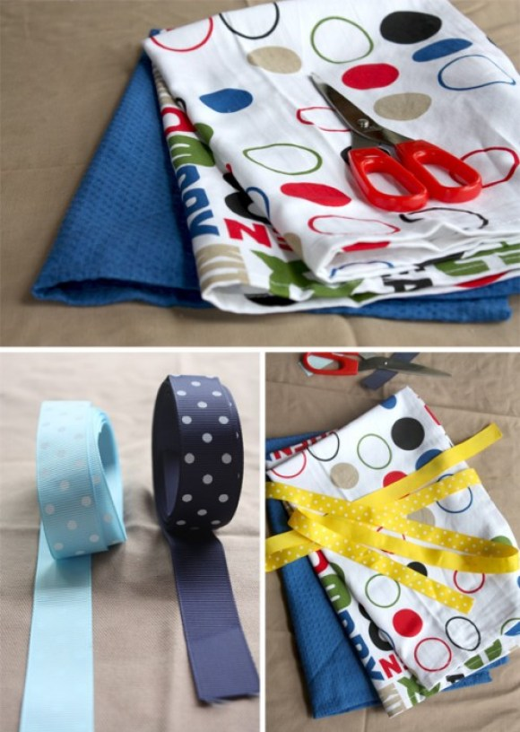 DIY: Aprons From Tea Towels Without Sewing for Mom's Day  14 - apron