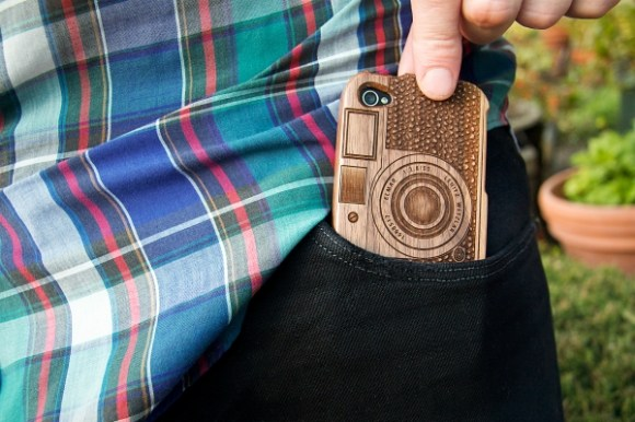 Wood camera Iphone4 case 19 - bamboo