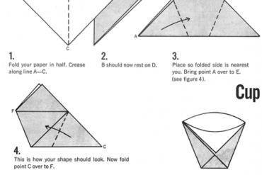 How To Make Origami Cups ภาชนะกระดาษใส่น้ำและอาหารแห้งยามน้ำท่วม 32 - DIY