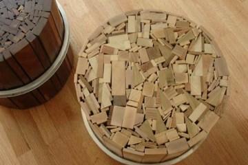 เก้าอี้สตูลจากไม้เก่าและโครงล้อจักรยานเก่า 8 - go green