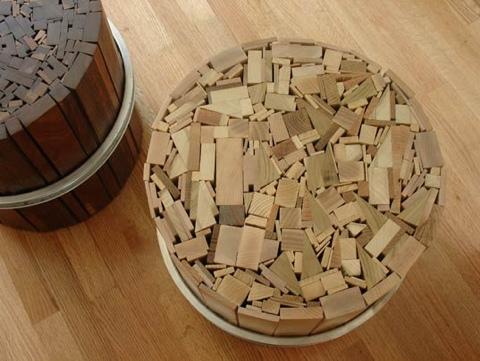 25550108 095853 เก้าอี้สตูลจากไม้เก่าและโครงล้อจักรยานเก่า