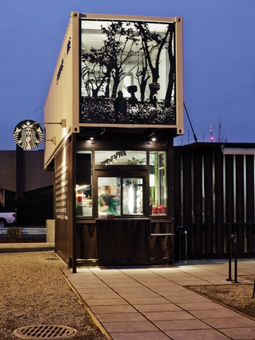 Starbucks สาขานี้ทำจากตู้คอนเทนเนอร์ 17 - Architecture