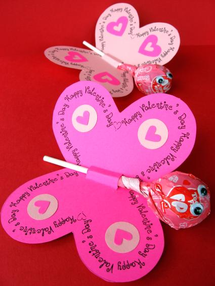 butterfly valentine DIY.valentine lollipops