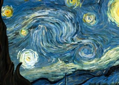 starrynight02d 488x350 เมื่อผลงานของ Vincent van gogh กลายเป็น interactive animation