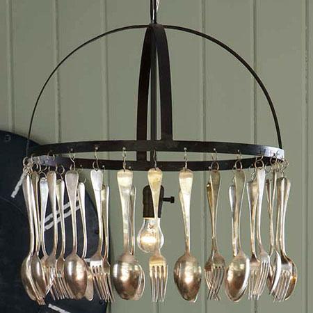 chandelier cutlery big D.I.Y CUTLERY UPCYCLING เปลี่ยนช้อนส้อมที่ผุพัง สู่ของตกแต่งดีไซน์ครีเอท