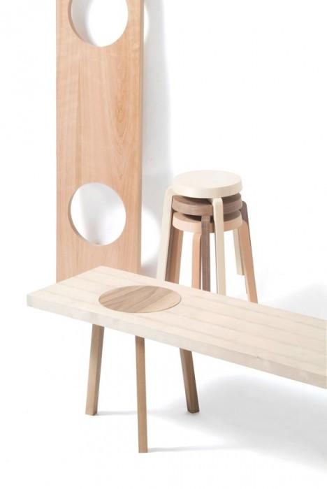 เก้าอี้สตูว์ + ม้านั่ง ในชิ้นเดียว เรียบง่ายแนว Minimalist 12 - Bench
