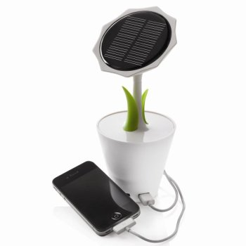 solarflower 1 350x350 Solar Sunflower – sun energy charger in a flowerpot