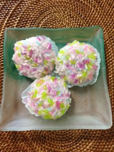 Hydrangea mochi sweets with red bean filling