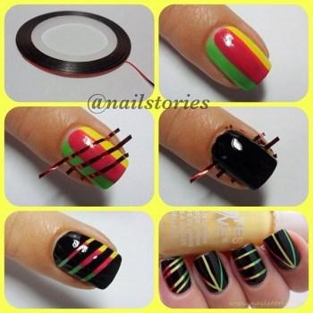 12 Amazing DIY Nail Art Designs Using Scotch Tape เล็บสวย12 วิธีด้วยสก็อตเทป 14 - Nail Art Designs