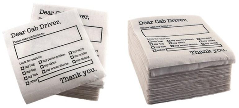 Dear Cab Driver Napkins...กระดาษชำระเงิน 16 - Dear Cab Driver Napkins.