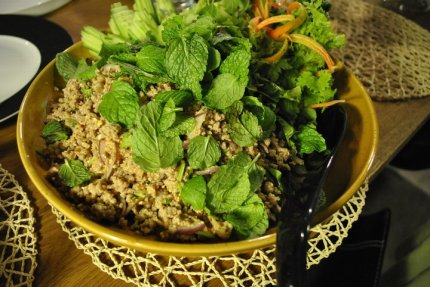 Ibaraki pork larb with fresh herbs